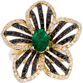 EFFY Final Call 14k Yellow Gold 4/5ct TDW Black and White Diamond and Emerald Flower Ring (D-E, VVS1-VVS2)