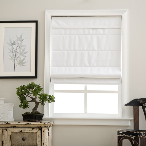Cloud White Cordless Fabric Roman Blackout Shade (As Is Item)