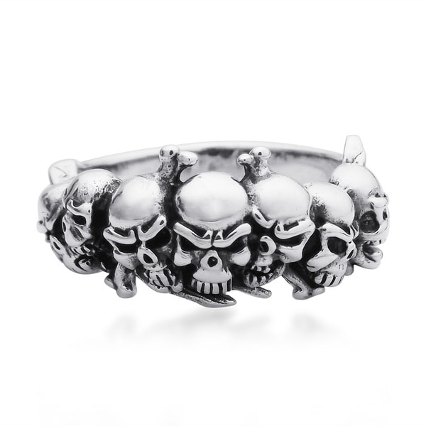 Handmade Ominous Pirate Skull and Crossbones .925 Sterling Silver Ring (Thailand) 16183457