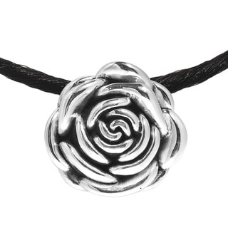 Beloved Shiny Rose .925 Sterling Silver Silk Necklace (Thailand)