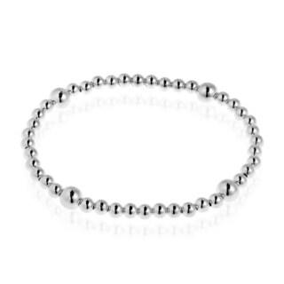 Sleek Elastic Bead Link .925 Sterling Silver Bracelet (Thailand)