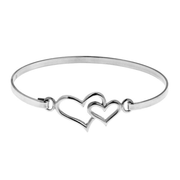 Double Heart One Love .925 Sterling Silver Bangle Bracelet (Thailand)