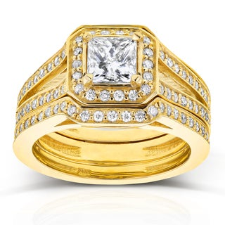 Annello 14k Yellow Gold 1 1/3ct TDW Princess Diamond Octagon Halo Split Band Bridal Rings Set (H-I, I1-I2)