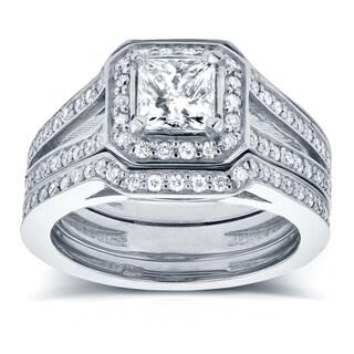 Annello 14k White Gold 1 1/3ct TDW Princess Diamond Halo Split Band Bridal Rings Set (H-I, I1-I2)