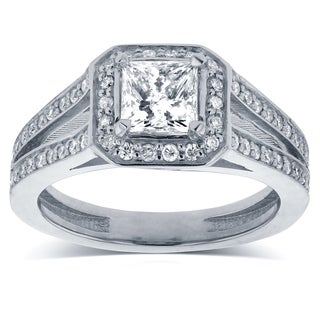 Annello 14k White Gold 1 1/8ct TDW Princess Diamond Octagon Halo Split Band Engagement Ring (H-I, I1-I2)