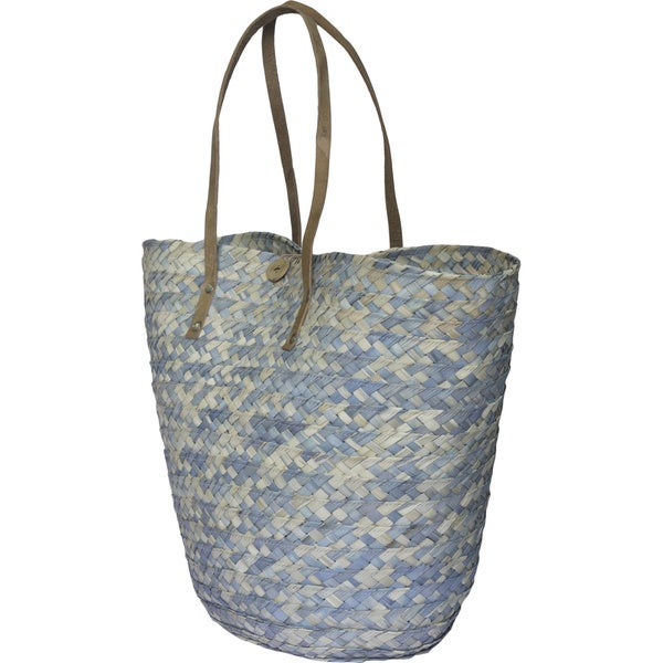 Barielly Turquoise Palm Leaves Tote Handbag (India)
