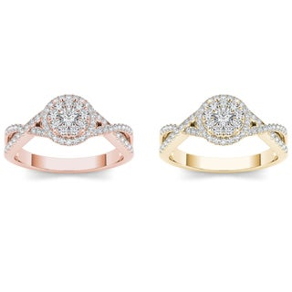 De Couer 10k Gold 1/2ct TDW Diamond Double Halo Engagement Ring (H-I, I2)