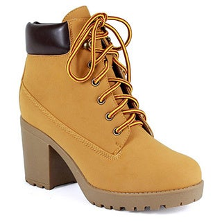 Reneeze Opo-01 Women's Lace Up Stacked Chunky Collar Ankle Working Booties
