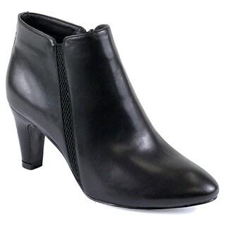 Reneeze Petra-01 Women's Zipper Chunky Heels Pointed Toe Strap Ankle Booties