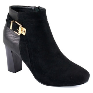 Reneeze Pony-01 Women's Stacked Chunky Heels Buckle Zipper Strappy Ankle Booties