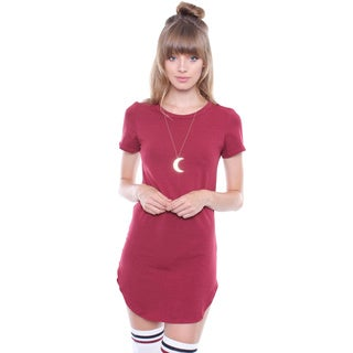 Juniors' Contemporary Burgundy Shirt Dress with Dolphin Edge