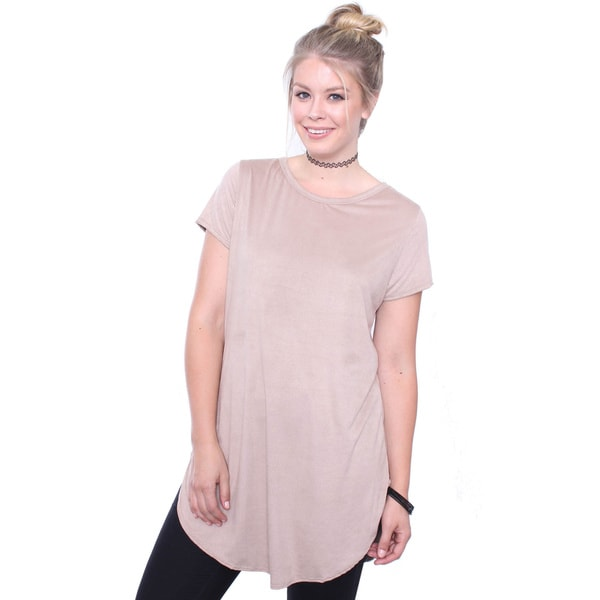 Juniors' Plus Size Suede Tan Tunic Tee Dress
