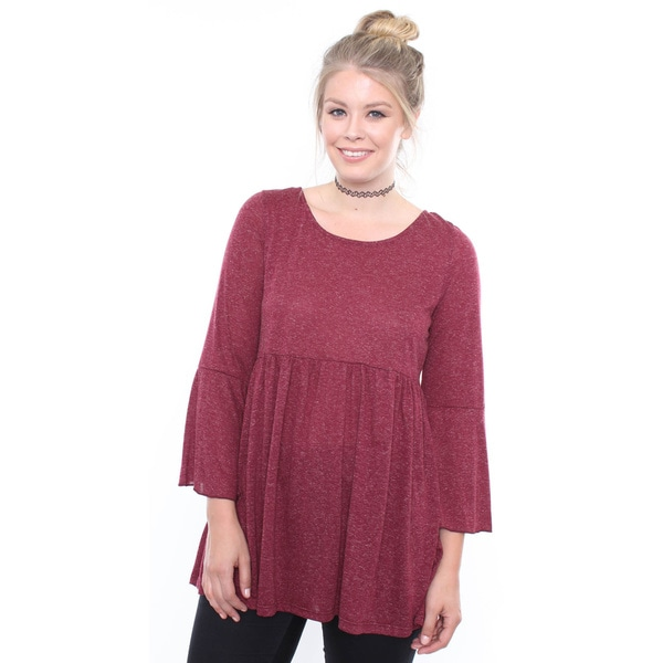Juniors' Plus Size Burgundy Bell Long Sleeve Babydoll Dress