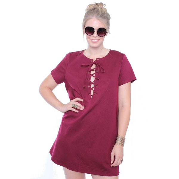 Juniors' Plus Size Lace Up Dress