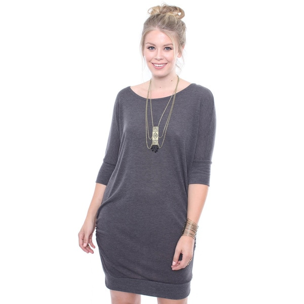 Juniors' Plus Size Grey Sweater Dress With Ruched Sides