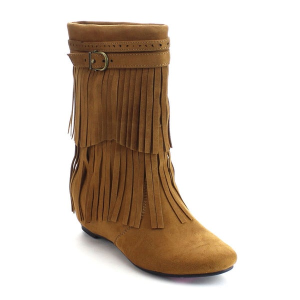 DE BLOSSOM COLLECTION AMAR-63 Women's Buckle Strap Two Layer Fringe Mid Calf Boots