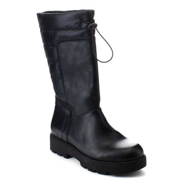 DE BLOSSOM COLLECTION ELITA-2 Women's Lug Sole Slip On Quilted Mid Calf Boots