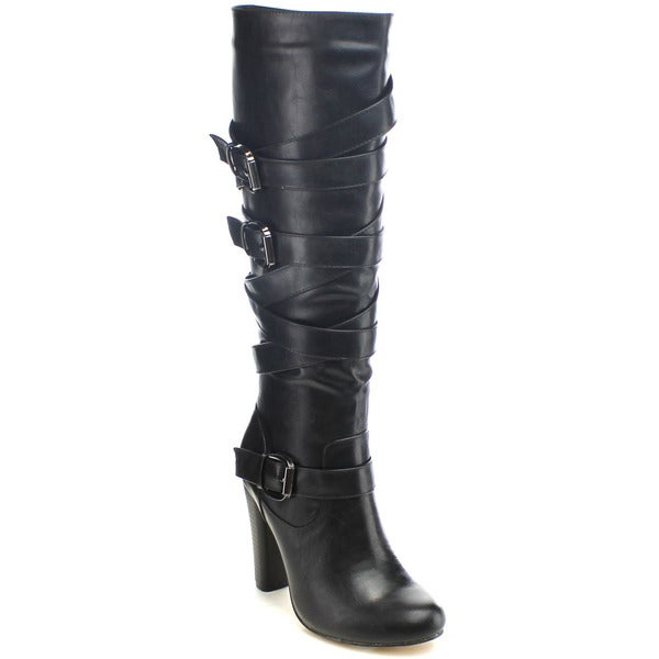 Chase And Chloe Apollio-01 Women's Straps Buckle Knee High Stacked Heel Boots 16184860