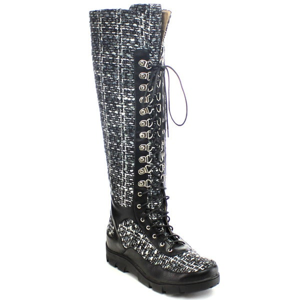 CHASE and CHLOE WILLIAM-15 Women's Fabric Lug Sole Desert Knee High Boots