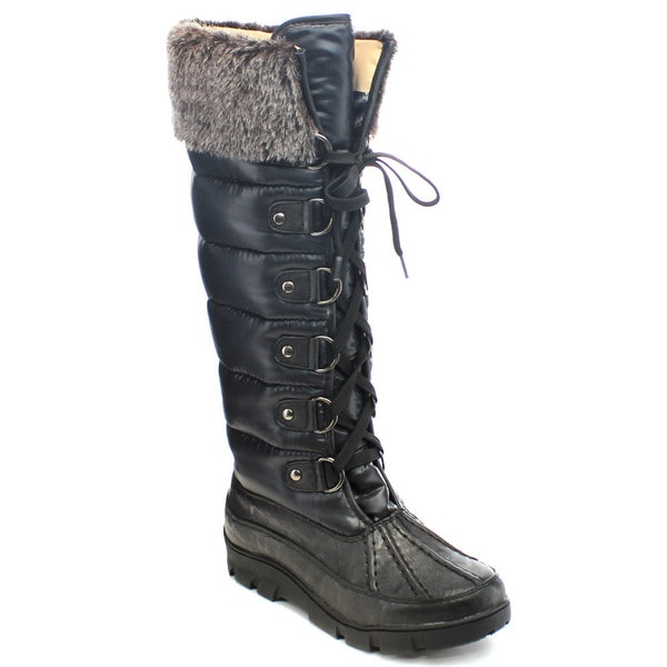 Chase And Chloe William-5 Women's Lace Up Faux Fur Trim Knee High Snow Boots (As Is Item)