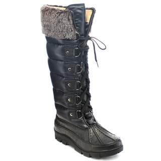 Chase And Chloe William-5 Women's Lace Up Faux Fur Trim Knee High Snow Boots