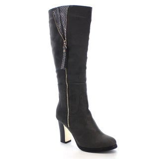 Reneeze Paris-01 Women's Snake Side Zipper Chunky Heel Knee High Boots