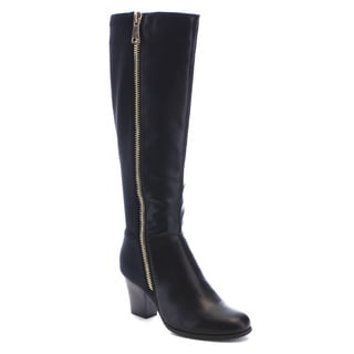 Reneeze Pearl-01 Women's Elastic Zipper Stacked Chunky Heel Knee High Boots