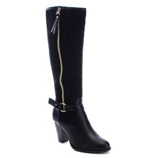 Reneeze Ping-01 Women's Zipper Buckle Belt Stacked Chunky Heel Knee High Boots