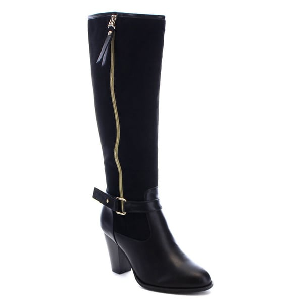 Reneeze Ping-01 Women's Zipper Buckle Belt Stacked Chunky Heel Knee High Boots (As Is Item)