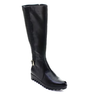 DBDK Chino-2 Women's Pointed Toe Side Zip Lug Sole Buckle Knee High Riding Boots
