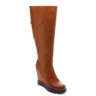 DBDK Chino-3 Women Pointed Toe Zip Lug Sole Platform Knee High Wedge Boots