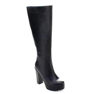 DBDK Phoenix-1 Women's Platform Lug Sole Side Zipper Knee High Chunky Boots