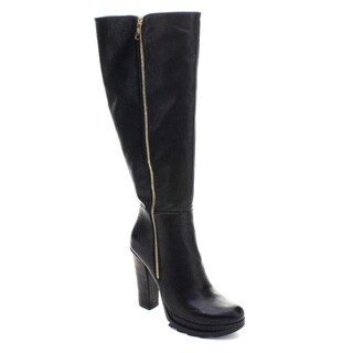 DBDK Phoenix-2 Women's Platform Side Zip Knee High Chunky Riding Boots