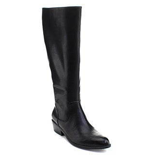 DBDK Trece-1 Women's Pointed Toe Side Zip Knee High Stacked Chunky Boots