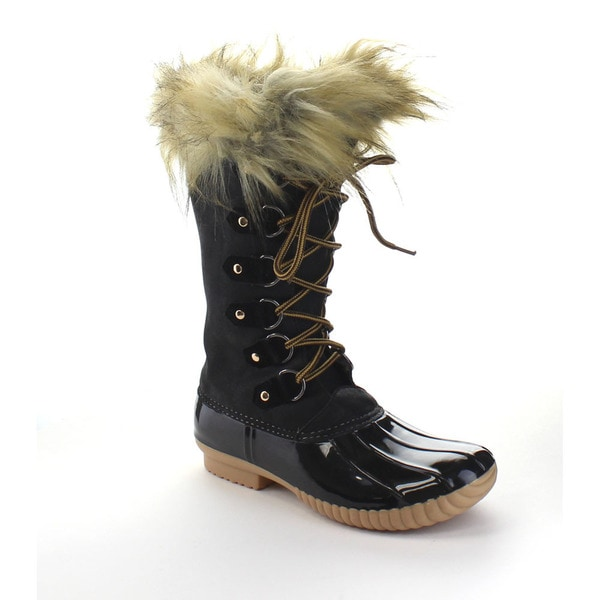 CAPE ROBBIN MURIEL-BC-5 Women's Faux Fur Collar Under The Knee High Boots