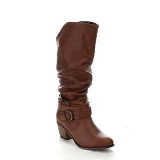 Liliana Daryn-1 Women's Tri-Buckles Accents Ruching Chunky Heel Knee High Boots