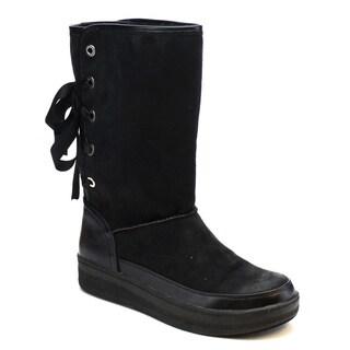 MI.IM MARSHMELLOW-03 Women's Faux Fur Lace Up Slip On Comfort Snow Boots