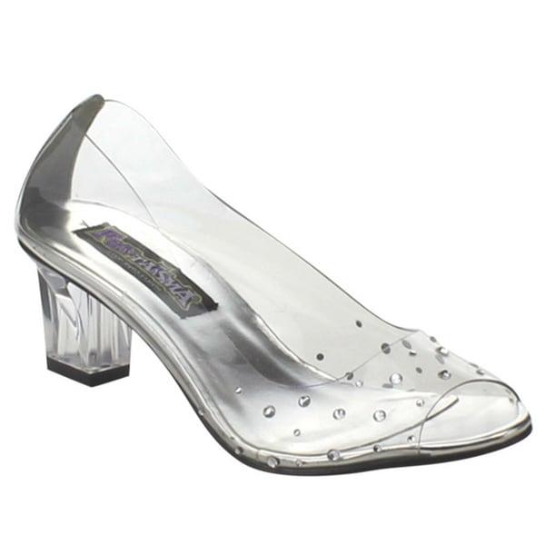 FUNTASMA CRYSTAL-100 Women's 2-inch Heel Clear Rhinestone Covered Heel Pumps