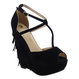 Chase And Chloe Lauren-7 Women's Peep Toe Fringe T-Strap Platform Wedges
