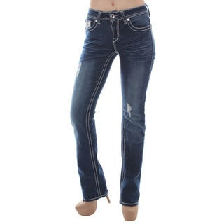 Sexy Couture Women's S124-pb Mid Rise Flare Bottom Boot Cut Jeans