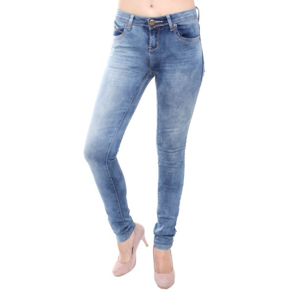 TRI ANGEL Women's T4008-PS Mid Rise Light Distress Skinny Jeans