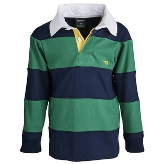 Sportoli Little Boys 100-percent Cotton Wide Striped Long Sleeve Polo Rugby Shirt