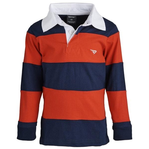 Sportoli Big Boys 100-percent Cotton Wide Striped Long Sleeve Polo Rugby Shirt