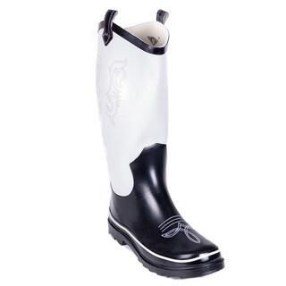 Women's Black/ White Cowboy Rain Boots