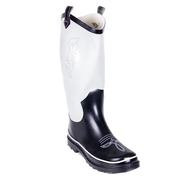 Women's Black/ White Cowboy Rain Boots