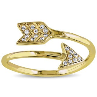 Miadora Yellow Plated Sterling Silver Cubic Zirconia Arrow Bypass Ring