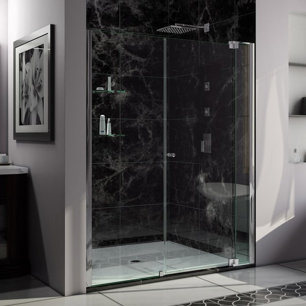 DreamLine Allure 65 to 66 in. Frameless Pivot Shower Door, Clear Glass Door in Chrome Finish
