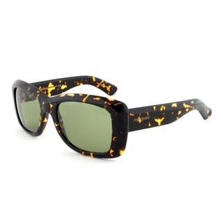 Yves Saint Laurent YSL 2320/S IL5DJ Rectangular Sunglasses, Dark Havana Frame, Green Lens