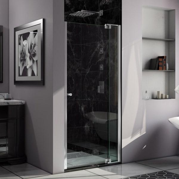 DreamLine Allure 37 to 38 in. Frameless Pivot Shower Door, Clear Glass Door in Chrome Finish