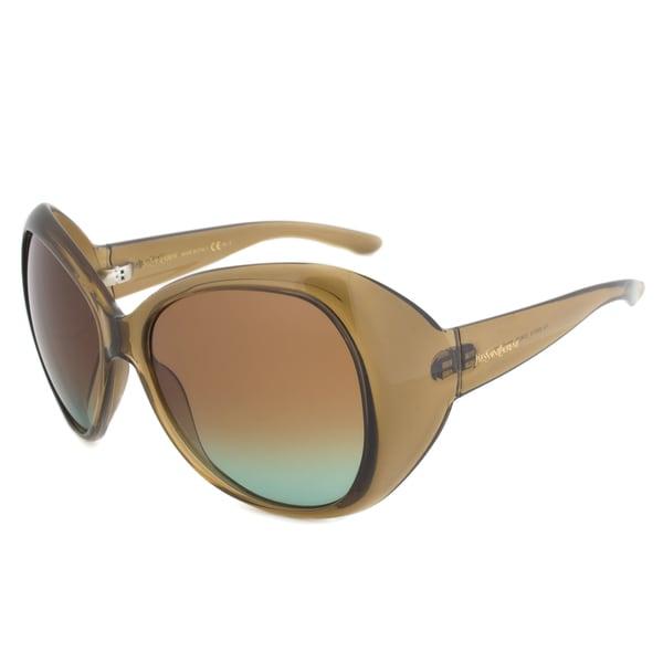 Yves Saint Laurent YSL 6357/S EGBZS Oval Sunglasses, Khaki Transparent Frame, Brown/Green Gradient Lens